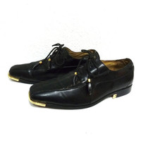 Vintage Harlem Knights Black Shoes Black Men Oxfords Dress Loafers Size 10 1/2