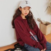 ulzzang 2017 harajuku women sweatshirt korean spring kawaii clothes autumn new retro handsome letters tie bts hoodies women