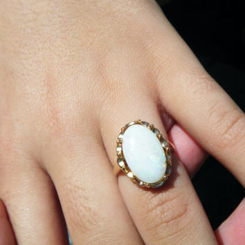 Delicately colored Australian opal ring, Coober Pedy opal, South Australian opal, Natural milk opal ring, conflict free gem, ExquisiteGem