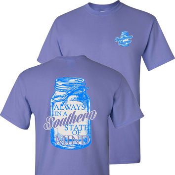 Southern Charm Mason Jar Southern State of Mind Short Sleeve Violet T Shirt