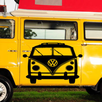 VW Bus Bulli, VW-Transporter Hippie flower child Bohemian beatnik free spirit dropout Woodstock Joy Car vinyl graphics Sticker tr096
