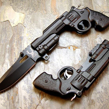 Spring Assisted Revolver Pistol Knife