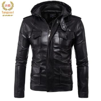 2018 spring and autumn Motorcycle Leather Men's body cultivation many pockets and hooded youth PU leather jacket