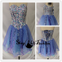Blue Purple Beaded Strapless Leopard Short Corset Style Homecoming Dress