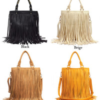 Synthetic Leather Tassel Shoulder  And Hand Bag