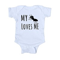 My Aunt Loves Me Baby Bodysuit Funny Cute Baby Infant Girl Boy Birthday Shower Gift Clothing