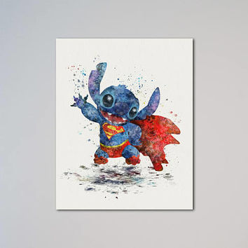 Stitch Superman Poster Watercolor Print Lilo and Stitch Funny Super Stitch