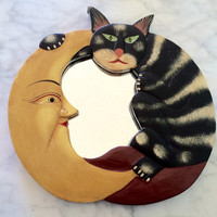 vintage wooden cat and moon mirror - celestial decor