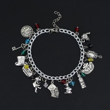 Alice in Wonderland Bracelets for Women Bangles Wristbands diy Jewelry Charms