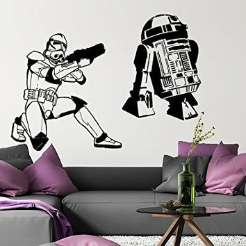 Wall Decal Star Wars Storm Trooper R2D2 Vinyl Sticker Decals Nursery Baby Room Home Decor Bedroom Art Design Interior NS850