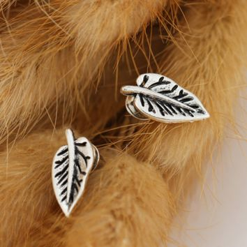 Peach heart elephant tree leaves earrings simple combination of earrings set