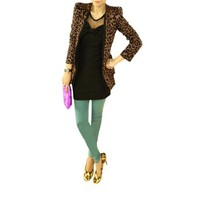 Allegra K Women Long Sleeve Leopard One Button Shoulder Pad Blazers Suit Jacket