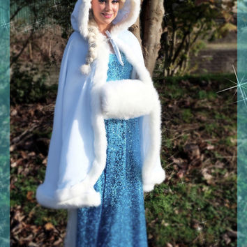 Frozen Bridal Cape White Satin / White  FLEECE 37 inch Medium-length-cape with Fur trim Wedding Cloak Handmade in USA
