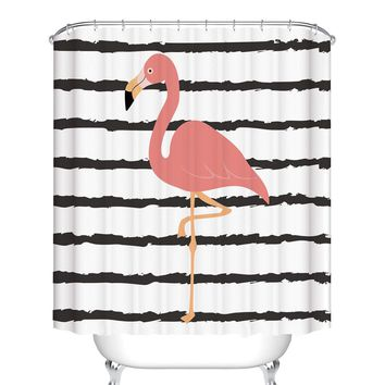 Flamingo Print Shower Curtain With 12pcs Hook
