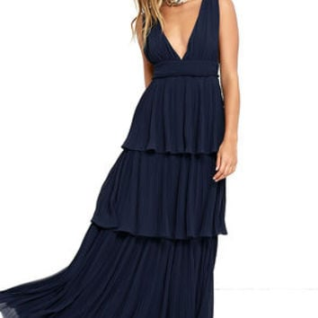 Gently Adrift Navy Blue Maxi Dress