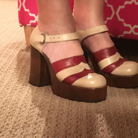 Vintage 70s Platform Mary Jane Shoes. Rust Brown & Taupe Leather Disco Dancing. Chunky Super High Heel. Almost Famous Penny Lane! 7 M