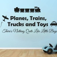 Wall Decals Quote Planes Trains Trucks And Toys Decal Vinyl Sticker Boy Nursery Baby Room Home Decor Art Murals Ms706