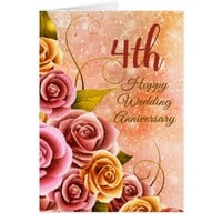4th Wedding Anniversary Greeting Card