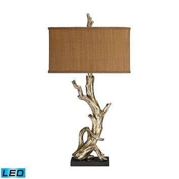 Driftwood LED Table Lamp in Silver Leaf