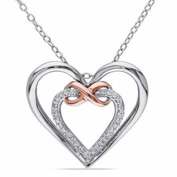 Double Heart Infinity Sterling Silver 1/10ct TDW Diamond Necklace For Women