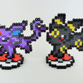 Eevee Espeon Umbreon Sprites with Pokeball Stand // Eeveelutions // Pokemon Perler Sprite