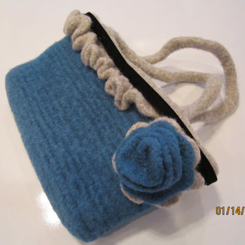 small teal handbag felted blue rose aqua purse Tealicious