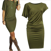 Summer Women Dress Fashion Short Sleeve Casual Dresses Pencil Package Hip Mini Dress