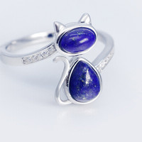 925 sterling silver cute cat natural lapis lazuli ring,a personalized gift