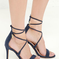 LULUS Romy Navy Lace-Up Heels