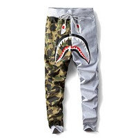 Bape Aape Fashion New Shark Tiger Print Camouflage Women Men Sports Leisure Pants Trousers Gray