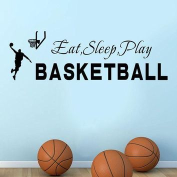 ICIKU7Q wall stickers for kids rooms Sleep Play Basketball Quotes Wall Sticker Decal Home Boys Room Decoration