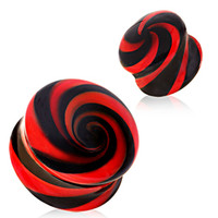 Black & Red Swirl Pyrex Glass Saddle Plug