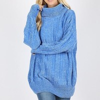Chenille Cowl Neck Sweater - Light Blue