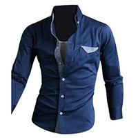 Jeansian Men's Slim Fit Long Sleeves Casual Shirts 8666