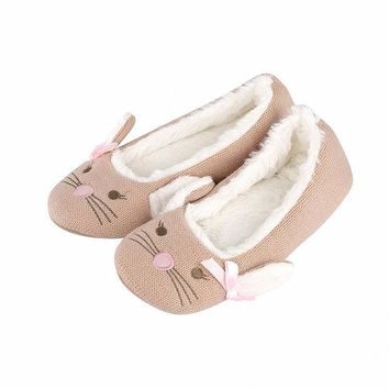 Ladies Dog Face Plush Slippers