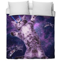 Laser galaxy cat blanket