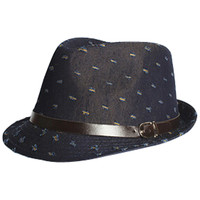 Black Old Baby Fedora Distressed Effect Hat with Neck Tie Set