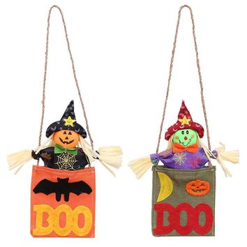 1 PC 55*15 cm Halloween Supplies Cloth Hemp Rope Pumpkin Bat Bar House Door Hanging Pendant Party Decorations Photobooth Props