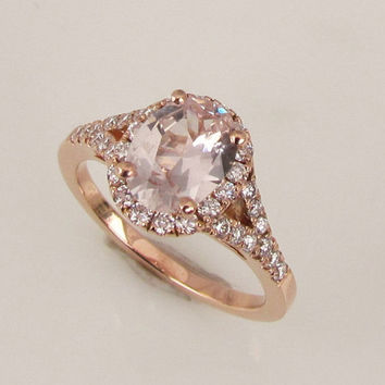 Champagne Peach Pink 14k Gold Rose Gold Split Shank Diamond Halo Engagement Ring Gemstone Engagement Ring Weddings Bridal