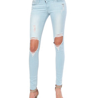 Luck Out Skinny Denim Jeans - Distressed