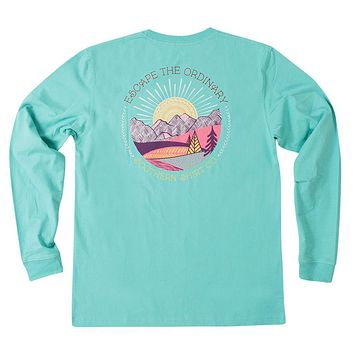 Escape the Ordinary Long Sleeve Tee in Turquoise by The Southern Shirt Co. - FINAL SALE
