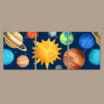 PLANET Wall Art, CANVAS or Prints, Outer Space, Sun Planets Earth Saturn Mars, Galaxy Theme Decor, Boy Bedroom Pictures, Decor Set of 3