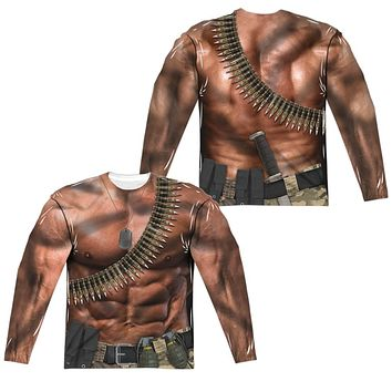 Six Pack Abs with Bullets Costume Long Sleeve T-shirt Front & Back