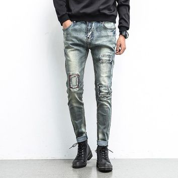 Ripped Holes Weathered Slim Stretch Jeans [10869557955]