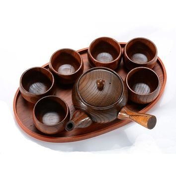 New Chinese-style Nature Wood teapot kung fu tea green tea pot with strainer wooden tableware