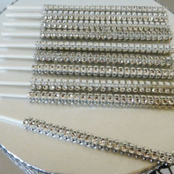 silver bling cake pop sticks, rhinestone cake pop sticks, candy buffet sticks, bling lollipop sticks