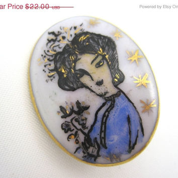 SALE Vintage Brooch - Porcelain Hand Painted - Cameo Style