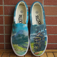 Sale! Howl's Moving Castle. Hand painted shoes. Anime shoes. chaussure miyazaki. Howl's Castle. totoro sneakers. howls moving castle shoes
