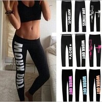 S-XL Women's Harajuku Work Out Letter Printed Black Fitness Leggings Casual Sexy Modal Sportwear Leggings Sport Leggings 9 Color