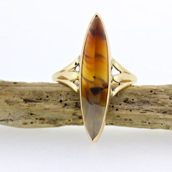 Antique Dendritic Agate Ring | Vintage Navette Ring | Moss Agate Gemstone Ring | Dainty Pinky Ring | Yellow Gold Cocktail Ring | Size 5.25